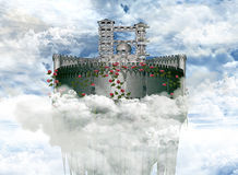 chmury nad romantycznym miasteczkiem royalty ilustracja