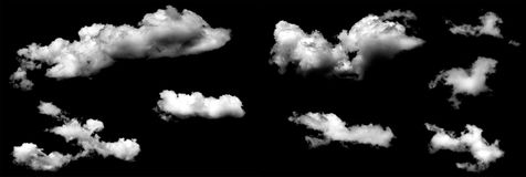 Chmury odizolowywać na czarnym baclground fotografia royalty free
