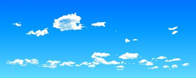 Chmury robi? rozrzucone kropki w niebieskim niebie, realistyczna dotwork cloudscape ilustracja royalty ilustracja