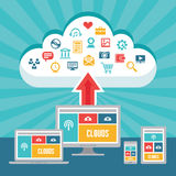 Chmury sieć i Wyczulony Przetwórczy sieć projekt z Wektorowymi ikonami Zdjęcia Royalty Free
