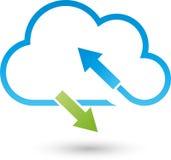 Chmury, strzała, interneta i ściągań logo, ilustracja wektor