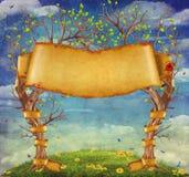 Chmury tło z drzewami i wielkim faborkiem ilustracja wektor