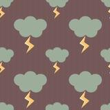 Chmury w deszczowym dniu z błyskawicy tła bezszwową deseniową ilustracją royalty ilustracja