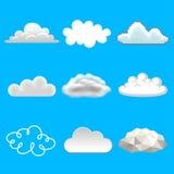 Chmury w różnej styl ikon fotografii wektoru realistycznym secie ilustracja wektor