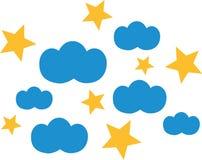 Chmury z gwiazdami royalty ilustracja