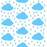 Chmury z podeszczowymi kroplami bezszwowy wzoru Druku lub ikony wektoru ilustracja royalty ilustracja