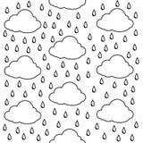 Chmury z podeszczowymi kroplami bezszwowy wzoru Druku lub ikony wektoru ilustracja ilustracji