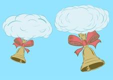 Chmury z ręka dzwonami royalty ilustracja