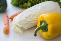 Chnese cabbage with paprika and carrots Royalty Free Stock Image
