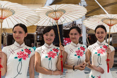 Chnese girls posing at Expo 2015 in Milan, Italy Royalty Free Stock Photography
