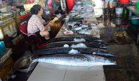 Cho Hoi dama sprzedaje ogromnej ryba - miejscowego rynek - Wietnam, Hoi - Zdjęcie Stock