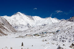 Cho Oyu from Gokyo village. Summit and the south face of Cho Oyu (sixth highest mountain in the world) from close to Gokyo Village Royalty Free Stock Images