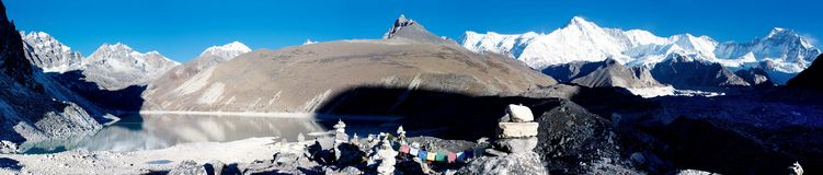 Cho Oyu Panoramatic视图  库存图片