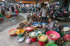 Cho Xom Chieu fresh produce market sellers and their stalls stock photo