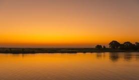 Chobe-Fluss-Sonnenuntergang Stockfotos