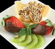 Choc Bananas And Strawberries 5 Royalty Free Stock Images
