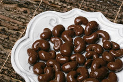 Choc cashews right Stock Photography