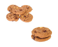 Choc chip. Chocolate biscuits with nuts royalty free stock photos