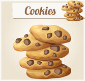 Choc chip cookies 2. Detailed vector icon. Series of food and drink and ingredients for cooking Royalty Free Stock Photos