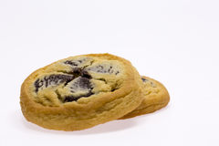 Choc-chip Cookies. On white background stock photo