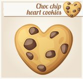 Choc chip heart cookies illustration. Cartoon vector icon. Series of food and drink and ingredients for cooking Stock Photography