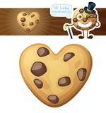Choc chip heart cookies illustration. Cartoon vector icon isolated on white background. Series of food and drink and ingredients for cooking Stock Photo