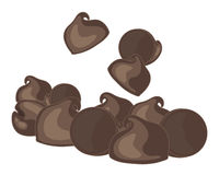 Choc chips. An illustration of chocolate chips arranged in a group on a white background Stock Images