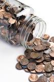 Choc de penny inclinés plus de Images stock