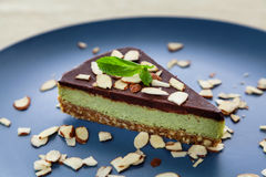 Choc and mint raw cake Royalty Free Stock Image