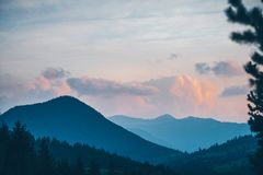 Choc Mountains, Slovakia. Mountains in sunset light. Choc Mountains are a range of mountains in north-central Slovakia, a portion of the Fatra-Tatra Area of the stock photos