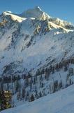 choc objętych mt śnieg Shuksan przeglądał od Mt Piekarniany Narciarski teren obraz stock