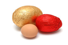Choc or real eggs Stock Photo
