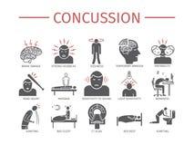 choc Symptômes, traitement Icônes plates réglées Signes de vecteur illustration de vecteur