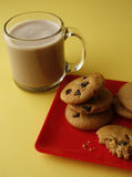 Chocolate chip cookies and hot coco Royalty Free Stock Photography