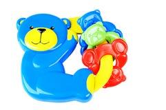 Chocalho azul do bebê do urso Imagem de Stock