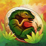 Chocando o ovo de dinossauro IIllustration Foto de Stock