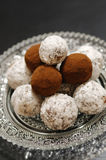 Choccolate homemade pralines. With cocoa, milk, sugar and cookies Royalty Free Stock Photos