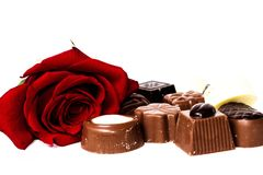 Chocholate and rose Royalty Free Stock Photos