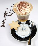 Chocholate with whipped cream. In the cristal glass Royalty Free Stock Photo