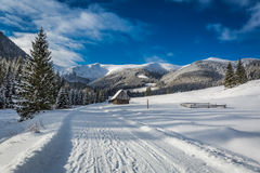 Chocholowska Valley at sunrise in winter, Tatra Mountains Stock Photography