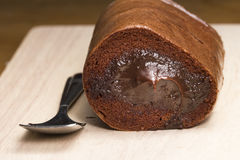 Chock Roll on Wooden Plate. Closeup shot Stock Image