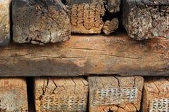 Chock. Sleeper pad railway - brown vintage Stock Photography