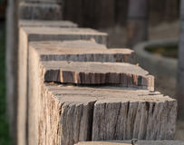 Chock wood. Close up view of old vintage chock wood, fence design countryside style Stock Photo