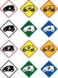 Chocka varning i liten elbilshap, vektor av trafiktecken stock illustrationer