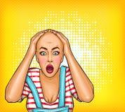 chockad flicka för popkonst efter kemoterapi eller dålig frisyr Skallig kvinna med cancer Oncologyillustration, behandling vektor illustrationer