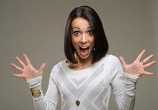 Chockad kvinna Arkivfoton