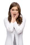 Chockad kvinna som sätter händer på huvudet Arkivfoton
