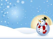 Chockad Snowman med bakgrund Royaltyfria Foton
