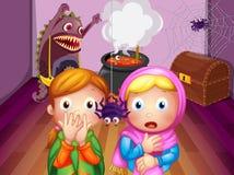 Chockade framsidor av två flickor framme av en spindel vektor illustrationer