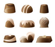 Chockolate bonbon sweetie set. Chocolate bonbon sweetie set with different forms and decorations Royalty Free Stock Images